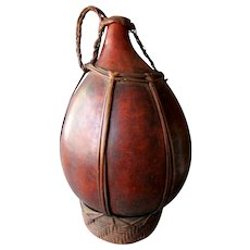 Large ANTIQUE 19th Century AFRICAN Natural Gourd WATER JUG Beautiful Patina