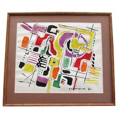 VINTAGE Mid Century Modern ABSTRACT Watercolor Painting Signed BECKHAM 1960