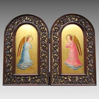 Antique DIPTYCH Illuminated Oil Painting FRA ANGELICO with Black Forest Frame