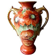 Antique Hand Painted LIMOGES Art Nouveau POPPY VASE Signed M.E. Schlechter