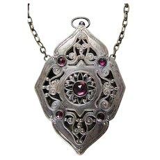 ANTIQUE Victorian Era Art Nouveau Jeweled Chatelaine VINAIGRETTE 1890