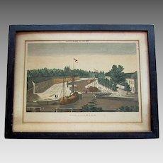 Antique 18th Century VUE D'OPTIQUE PRINT - De La Coupure A Gand - Ghent Belgium