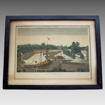 Antique 18th Century VUE D'OPTIQUE PRINT - De La Coupure A Gand - Ghent Belgium