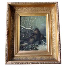 Antique Victorian Era Oil Painting on Canvas SPARROWS  In WINTER Holly Berries circa 1880