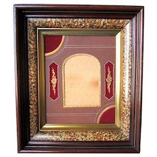 ANTIQUE 19th Century Marbelized Deep Walnut FRAME with AESTHETIC Die Cut MATTE circa 1870