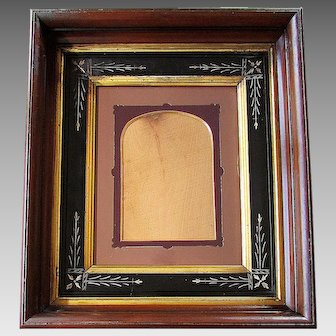 ANTIQUE 19th Century EASTLAKE Chip Carved Deep Walnut FRAME with Die Cut Matte