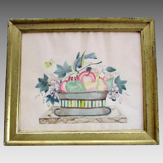 Antique WATERCOLOR THEOREM Basket of Fruit in Gilt Wood Frame
