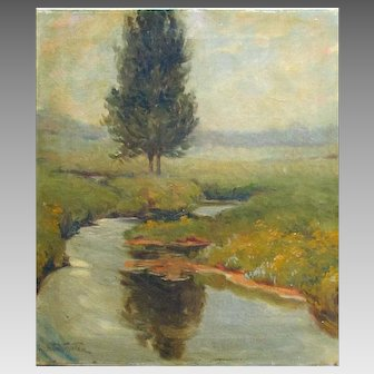 Vintage MARY PEMBERTON GINTHER Impressionist Landscape Oil Painting on Canvas