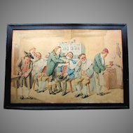 Large ANTIQUE 19th Century ORIGINAL Barbershop Watercolor Painting BARBER SHOP