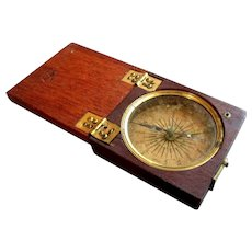 ANTIQUE 18th - 19th Century Georgian Era POCKET COMPASS Wooden Case 1790 - 1820