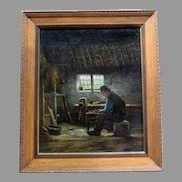 Vintage J.C. VAN WASSENAAR - Dutch Genre  - Oil Painting on Canvas - Man In Workshop