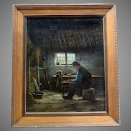 Vintage J.C. VAN WASSENAAR - Dutch Genre  - Oil Painting on Canvas - Man In Workshop