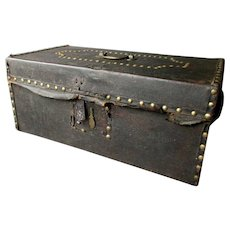 Antique 18th / 19th Century BRASS STUDDED Leather Covered WOODEN TRUNK
