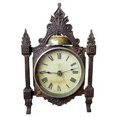 ANTIQUE 19th Century FK Cast Iron Aesthetic Case ALARM CLOCK circa 1880