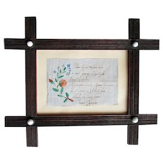 "Antique German Language CALLIGRAPHY Watercolor Painting  LOVE LETTER  - "" If I Were a Little Bird "" 1862"