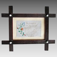 """Antique German Language CALLIGRAPHY Watercolor Painting  LOVE LETTER  - """" If I Were a Little Bird """" 1862"""