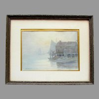 Vintage JOHN K THURSTON Original Watercolor Painting SAILBOATS In FOG Dock House