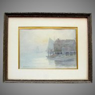 Vintage JOHN K THURSTON Original Watercolor Painting SAILBOATS In FOG Dock House
