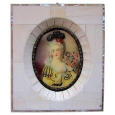 Vintage MINIATURE PAINTING Portrait of a Lady - Piano Key Frame circa 1930's