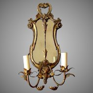 Vintage ITALIAN Hand Carved Wood & Steel ELECTRIC Mirrored Wall Sconce