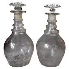 ANTIQUE - Early 19th Century - Georgian Era - Blown & Cut Glass - SPIRIT DECANTERS 1830