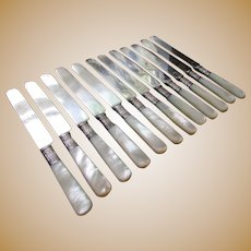 12 ANTIQUE Silver Banded MOTHER OF PEARL Silver Plated Dinner Knives