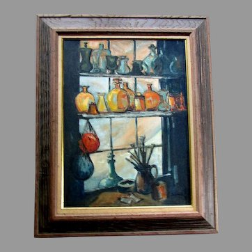 VINTAGE Mid Century Modern SOPHIE WEILL Oil Painting on Board  - Symphony In Glass
