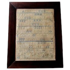 Antique 19th Century AMERICAN ALPHABET SAMPLER Elizabeth Kate Hickman