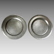 """Pair ANTIQUE 19th Century PEWTER CHARGERS 9 1/2"""" Plates - London Hallmarks B&P"""