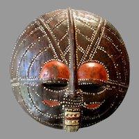 "Vintage Hand Carved BALUBA 16"" AFRICAN Ceremonial MOON MASK Luba People  - Congo"
