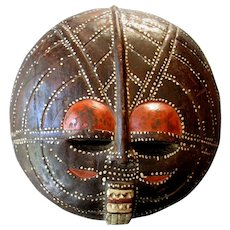 "Vintage Hand Carved BALUBA 16"" AFRICAN Ceremonial MOON MASK Luba People  - Congo"