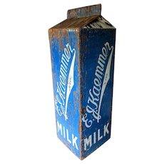 "Large Vintage E. J. KAEMMER & SON Dairy Advertisement  - 35"" Plywood Milk Container"