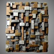 Vintage Rodale Metal Art BRUTALIST STYLE PLAQUE Architecture in Abstractia