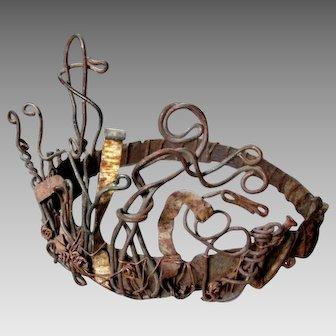 Vintage FOLK ART CROWN  Junkyard Diadem - Nails Wire & Steel