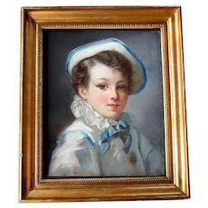 ANTIQUE 19th Century PASTEL PAINTING French School Portrait of a Young Boy as PIERROT