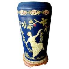 """Large Vintage WELLER Art Pottery 22"""" Blue Ware LAMP BASE"""