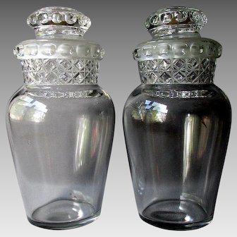 "Pair Antique DAKOTA 11 3/4"" Counter Top APOTHECARY JARS with Ground Stopper"