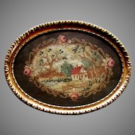 Antique 19th Century PETIT POINT Victorian Era PIN TRAY circa 1860