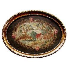 Antique 19th Century PETIT POINT Victorian Era PIN TRAY circa 1860