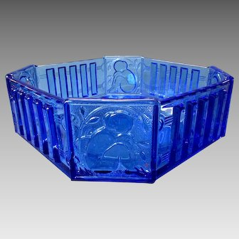 "Vintage ART BELGIUM Cobalt Glass 10"" Centerpiece Bowl with Art Deco FEMALE NUDE - Royale Belge"