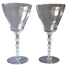 Pair Vintage  LALIQUE Clear Glass Wine Glasses -  Acid Mark