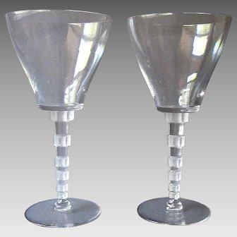 Pair Vintage  LALIQUE Clear Glass Wine Glasses -  Acid Mark