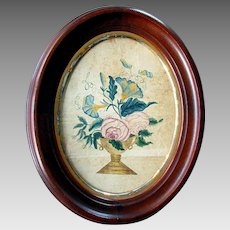 ANTIQUE Victorian Era THEOREM Watercolor Painting Still Life with Roses & Petunias