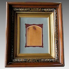 ANTIQUE 19th Century EASTLAKE Marbleized Picture Frame with Die Cut Matte 1870