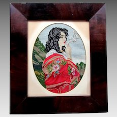 Antique 19th Century PETIT POINT Hand Stitched Embroidery GIRL with CIGARETTE