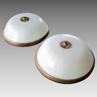 Pair Vintage MID CENTURY MODERN Flush Mount Ceiling Light Fixtures with Glass Shades