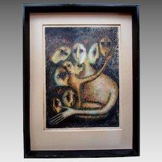 "Vintage Mid Century Modern BELLA BRISEL Artist Proof Lithograph Print "" ASSEMBLEE """