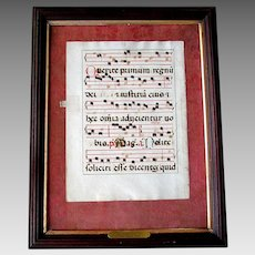 Early Antique MUSIC LEAF Latin Choir Book Page  - Abbey of Monte Cassino ITALY