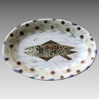 Small MARA SUPERIOR Hand Painted Porcelain Platter with SPECKLED TROUT Artist Signed