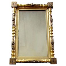 Antique 19th Century FEDERAL STYLE Gilt Wood & Gesso MIRROR Original Gold Finish
